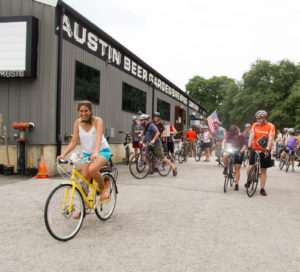 Mercedes Feris leading Bike Austin's Spring Fling ride