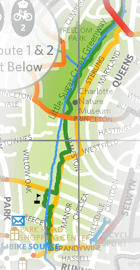 Little Sugar Creek (green) parallelling natural bikeway (yellow)