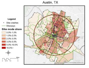 Bike mode share, facilities, and crashes within 4-mile radius circle in central Austin (1:100,000)