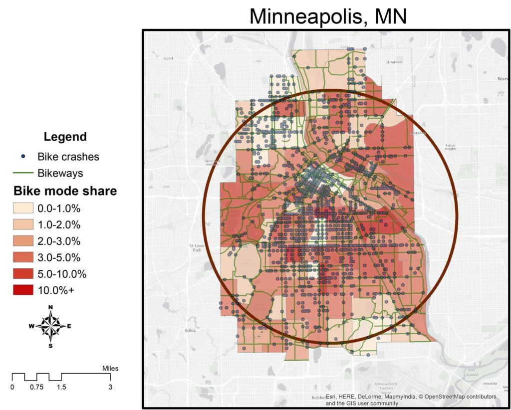 Bike mode share, facilities, and crashes within 4-mile radius circle in central Minneapolis (1:100,000)