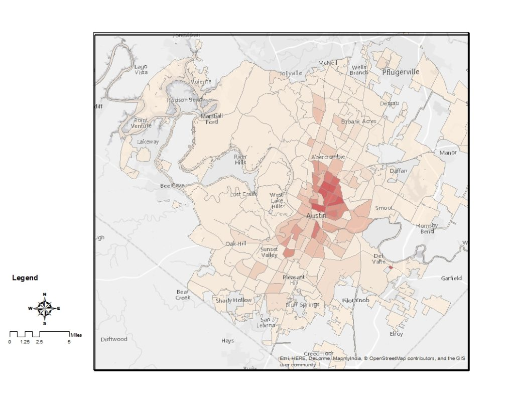 Map of Austin bike mode share by census tract, showing much higher rates in the central city