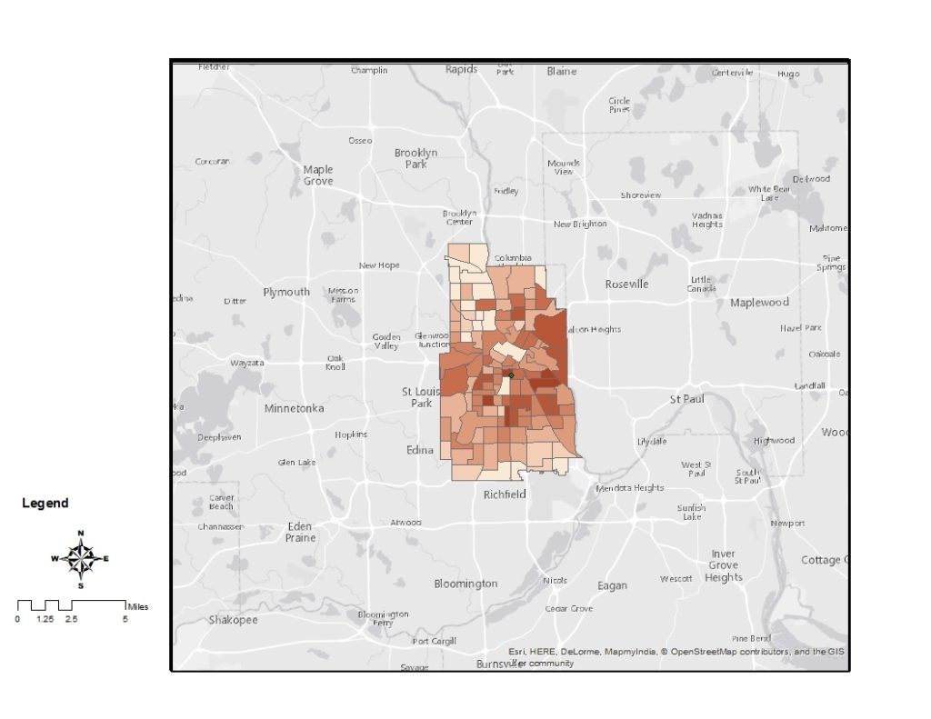 Map of Minneapolis bike mode share by census tract, showing much higher rates in the central city