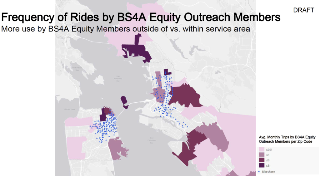 Map of zip code locations of BS4A Equity members and locations of bike share stations, showing little overlap