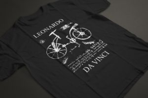 T-shirt depicting apocryphal sketch of bicycle allegedly done by Leonardo