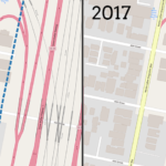 Side-by-side maps of 2000 and 2017 Census boundaries, showing slight differences