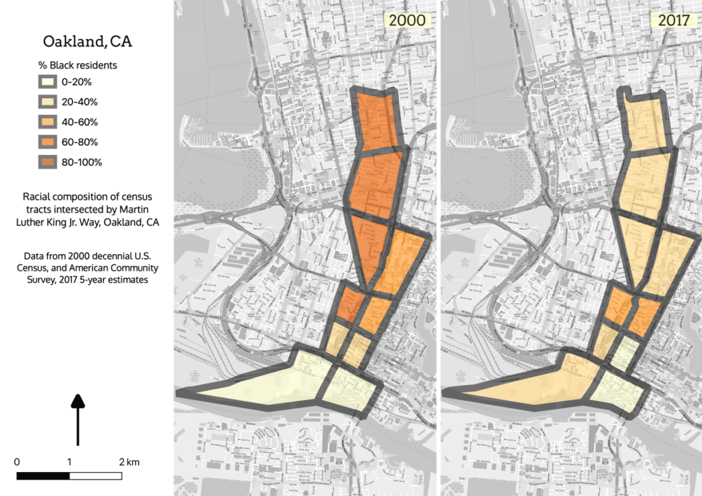 Maps showing Oakland census tracts intersected by MLK Drive in 2000 and 2017