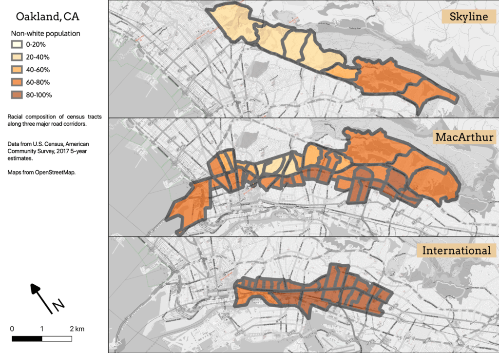 Three maps, showing non-white population in Oakland along International, MacArthur, and Skyline Boulevards.