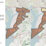 Map of southeastern Washington DC showing changes in demographic composition from 2000-2017