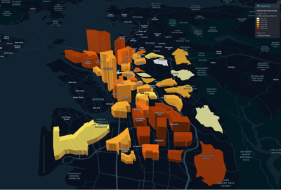 Map of Oakland, displaying the large number of stops in West and East Oakland, and the generally large proportion of African-Americans stopped in all police beats