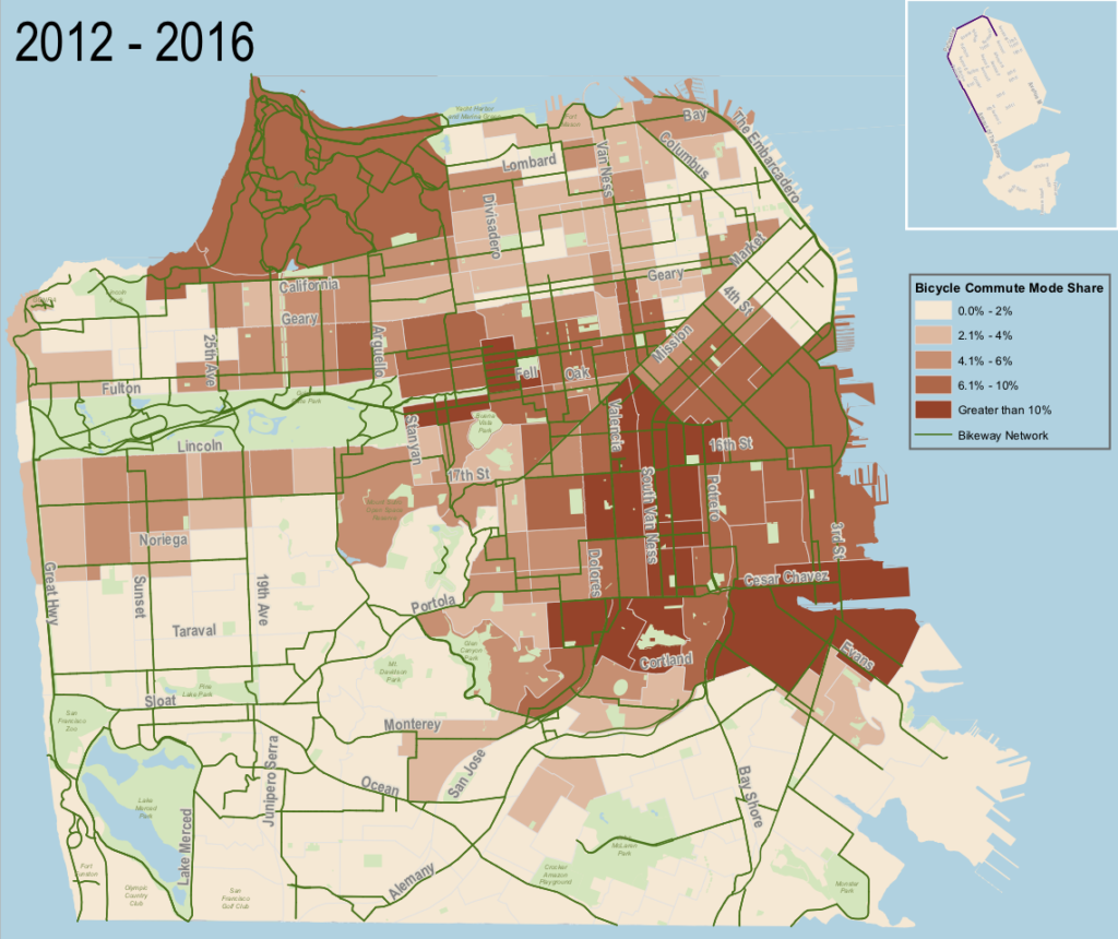 Map of bike mode share in San Francisco. All of the darkest census tracts are in the center of the city, near downtown.