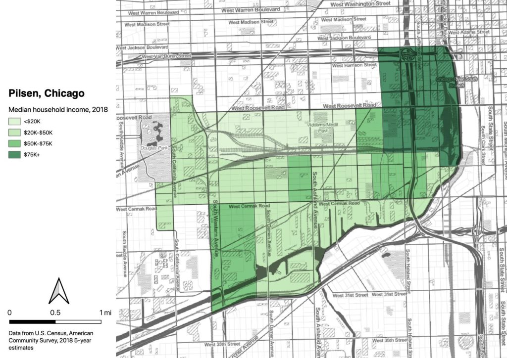 Map showing the Pilsen neighborhood of Chicago, coded by median income in each census tract. The area nearest The Loop has median income over $75K, the nearby areas are $50-$75K, most of the area is $20-$50K, and the central northern tract is below $20K.