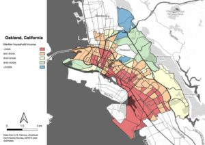 Map of Oakland showing median income. All of East Oakland is shaded in red (less than $50K) or orange ($50-$100K). The hills to the north are in blue (>$200K) , while the areas further east and south trend to green and yellow ($100-$200K)