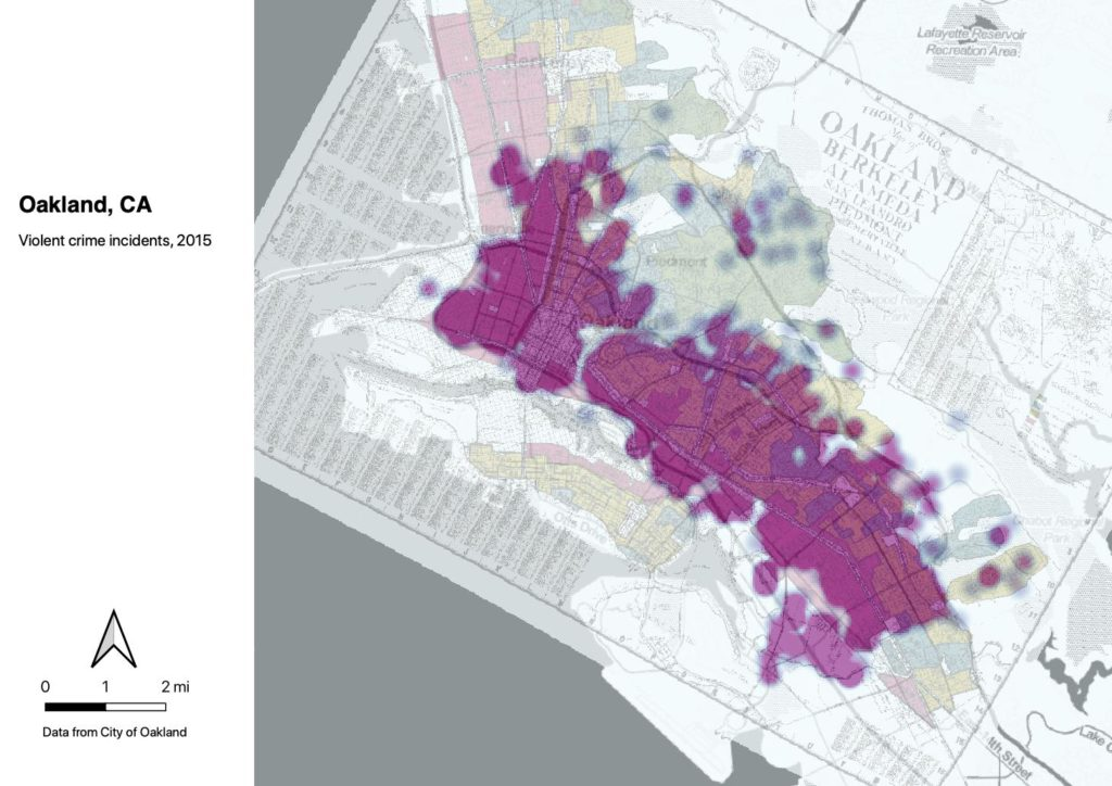 Heat map showing concentrated areas of violent crime in Oakland, CA. The heaviest portions are near the waterfront, where the neighborhood was redlined in the underlying 1937 map.