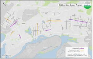 "Map of Oakland with existing, pending, and proposed Slow Streets highlighted. Four streets are marked as ""Completed April 11"", four more are ""Pending Installation April 17"", and approximately 20 more scatters around the city are ""Other Streets to be Evaluated"""