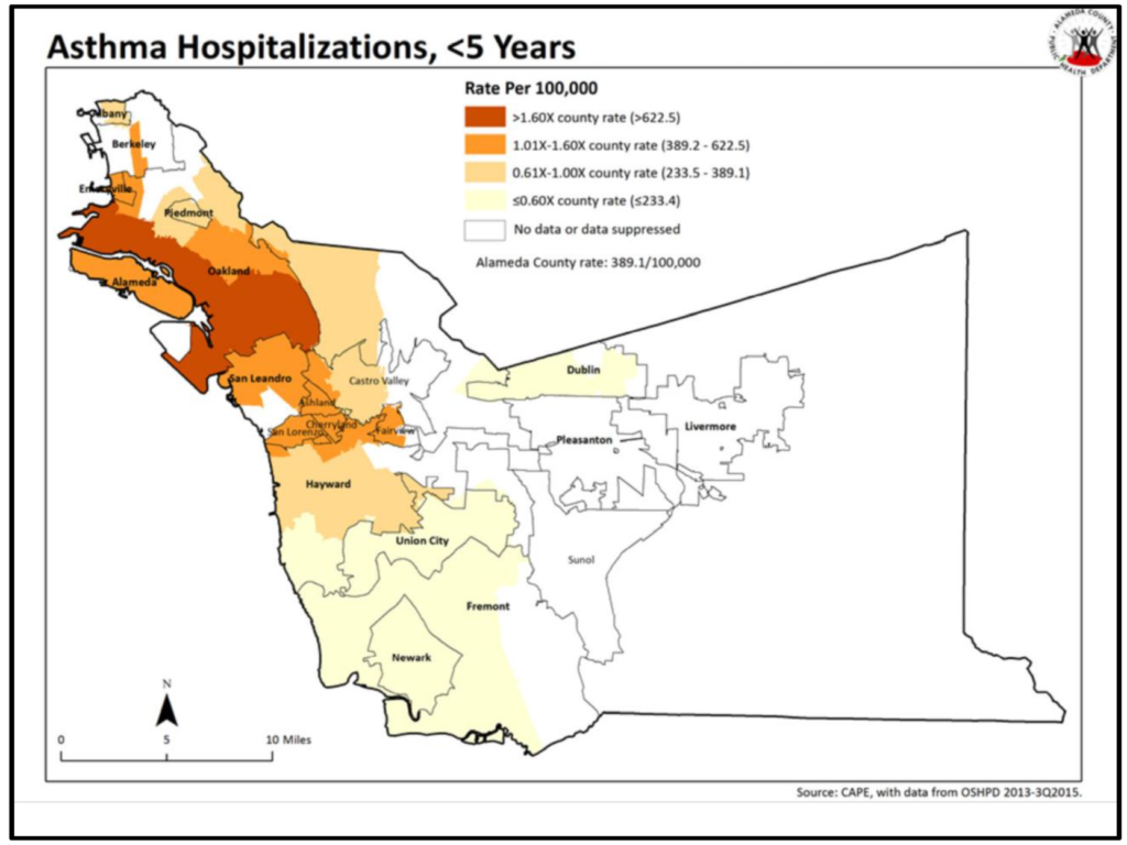 Map of Alameda County displaying asthma-related hospitalizations among children under 5 years old. Cases are concentrated in East and West Oakland.