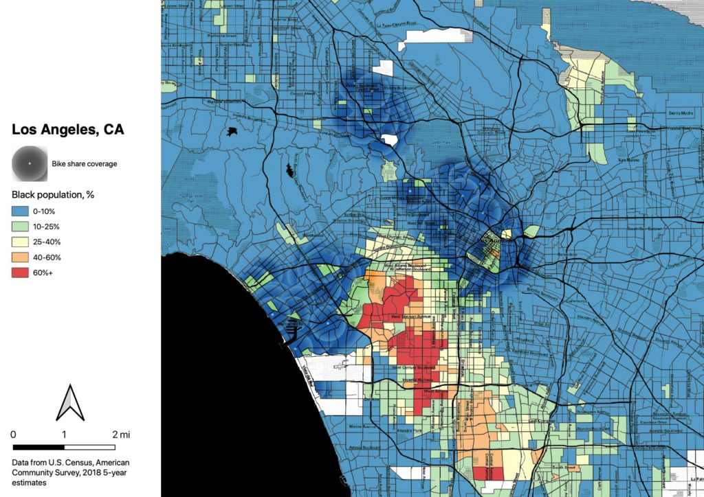 Map of Los Angeles County census tracts, colored by percentage of Black population, overlain with Metro Bike Share system coverage.